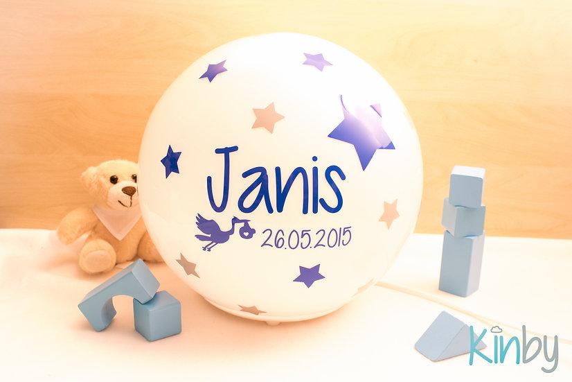 Lampe mit Geburtsdaten: Königsblau und Eisgrau