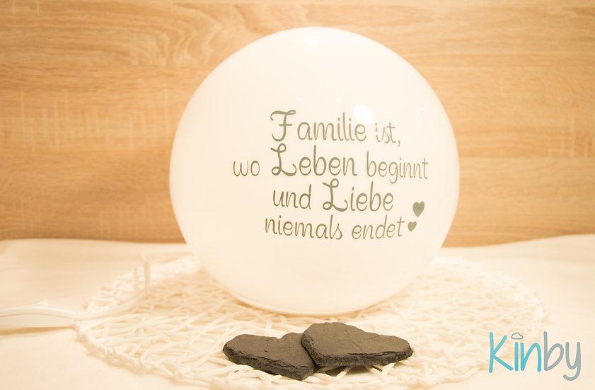 """Lampe mit Spruch """"Familie ist..."""": Eisgrau"""