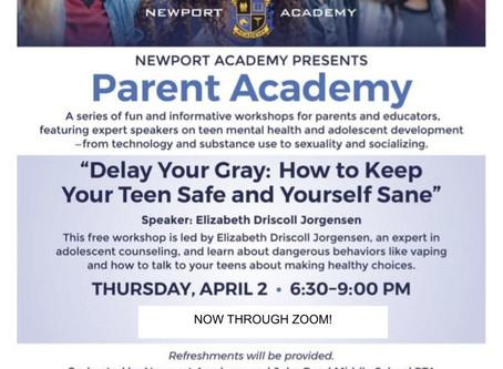 April PTA Meeting: Thursday, April 2nd, 6:30-9:00PM