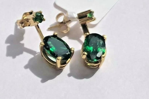 Rare Tsavorite Garnet Green Garnet Dangle Drop Earrings in 14K Yellow Gold