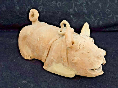 Chinese Terracotta Crouched Dog Figure Statue Han Dynasty