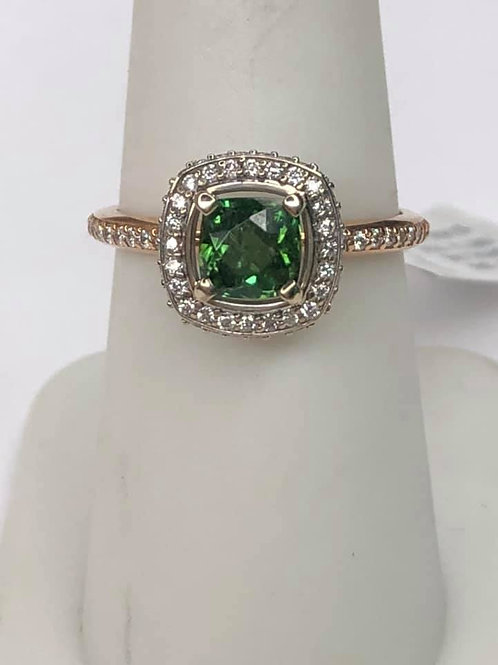 14K Rose and White Gold with Vivid Green Tourmaline
