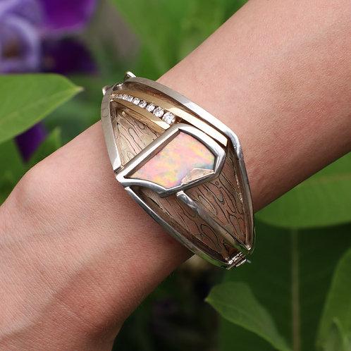 Mokume Gane Custom Made Bracelet with Fine Opal and Natural Diamonds