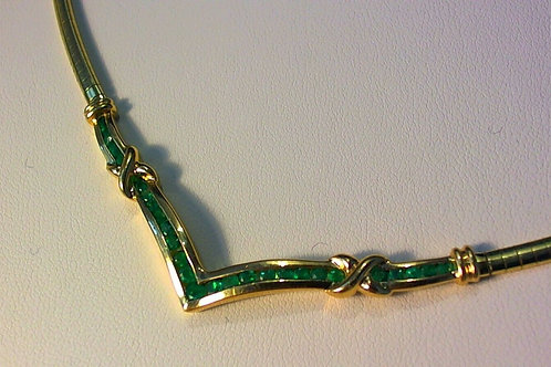 14 K Yellow Gold Emerald Omega Necklace by Bailey Banks and Biddle