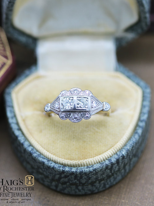 "Antique 1940s Gold Engagement Ring with two ""Toi et Moi"" Natural Center Diamonds"