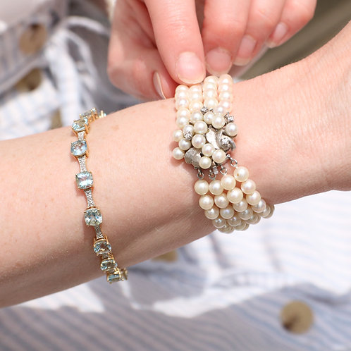 14 K Gold Quad Strand Cultured Pearl and Diamond Bracelet