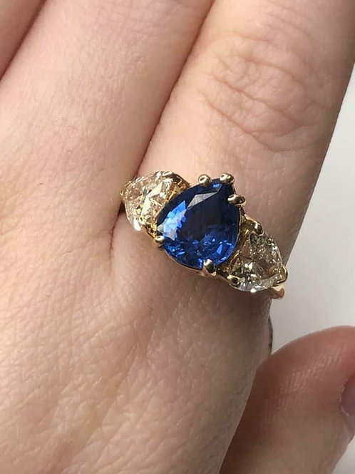 14 K Yellow Gold Natural Sapphire and Heart Shape Diamond Ring