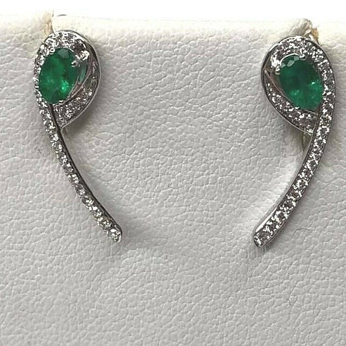 14 K White Gold Ear Crawler Earrings Natural Emerald and Diamond