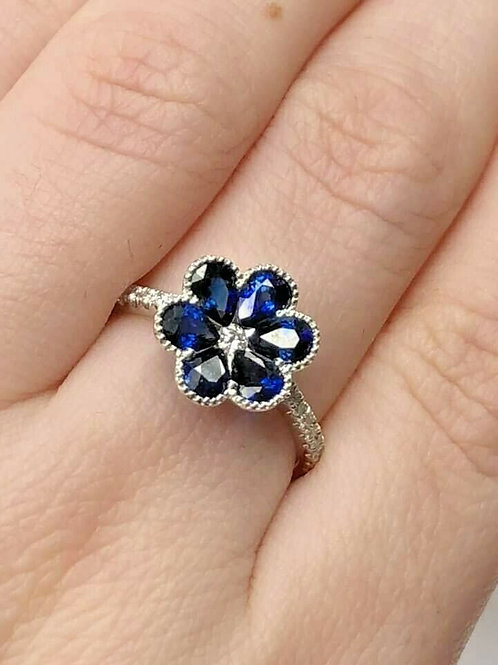 14 K Gold Flower Shape Ring with Sapphire & Diamonds