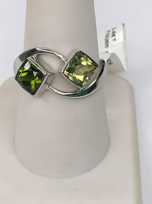 14K white Gold with two tones of Green Tourmaline