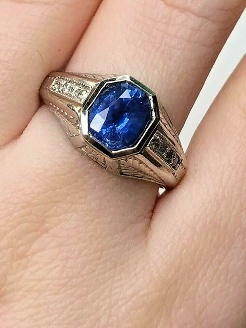 Mens Vintage Platinum and Sapphire Ring with Diamonds Fine Engraving