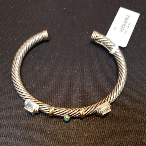 8a28cc01d 14k Yellow Gold Sterling Silver Yurman Cable Cuff w/ Amethyst & Turquoise