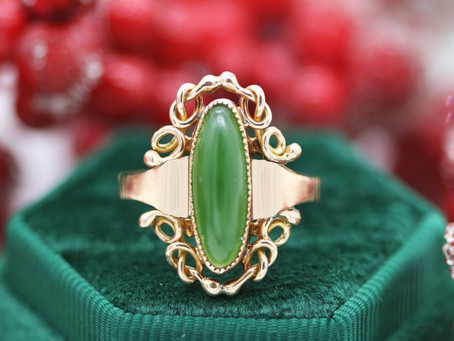 Vintage Rose Gold & Jade Statement Ring