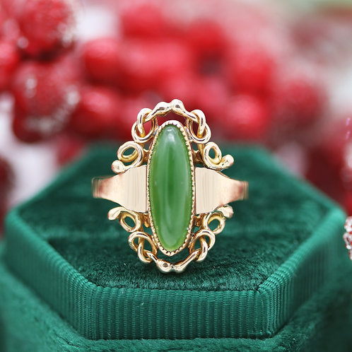 14 Karat Rose Gold Jadeite Jade Vintage Ladies Ring