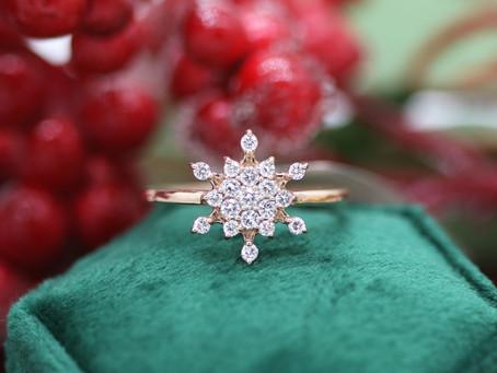 Rose Gold & Diamond Snowflake Ring