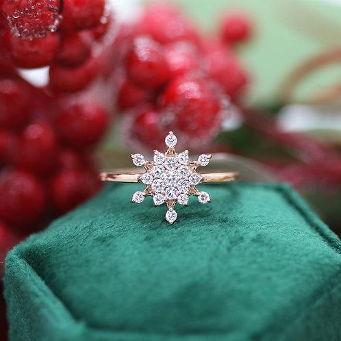 14 K Rose Gold Diamond Cluster Snowflake Ring
