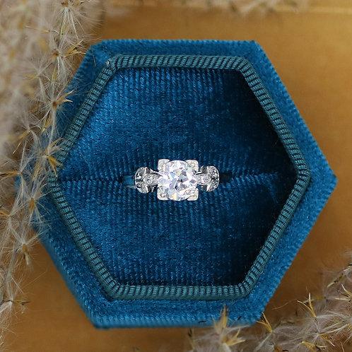 Antique Platinum .92 Carat Diamond Fine Engagement Ring