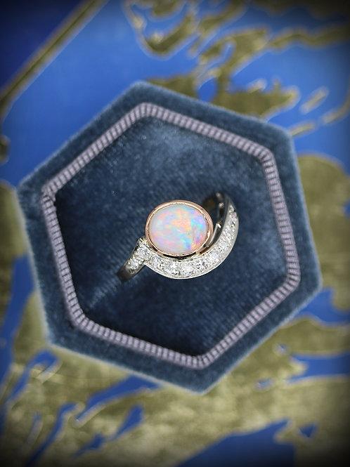 14 K White Gold & Rose Gold Diamond Opal Twist Ring
