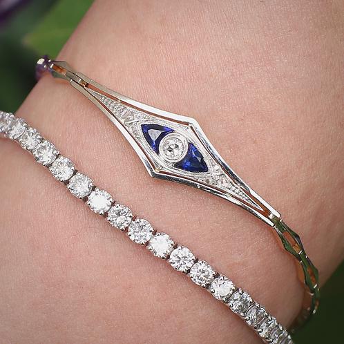 Platinum and 18 K Yellow Gold Diamond Art Deco Bracelet w/Lab Created Sapphire