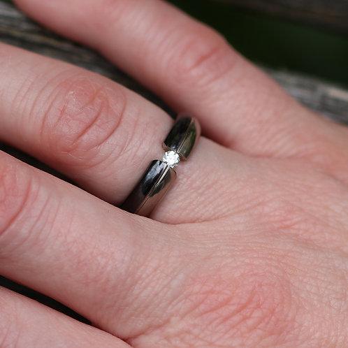 Black Titanium Tension Set Diamond Wedding Band