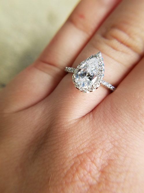 14 K White Gold Semi-Set Pear Halo Engagement Ring, 0.34 Carat Total Weight