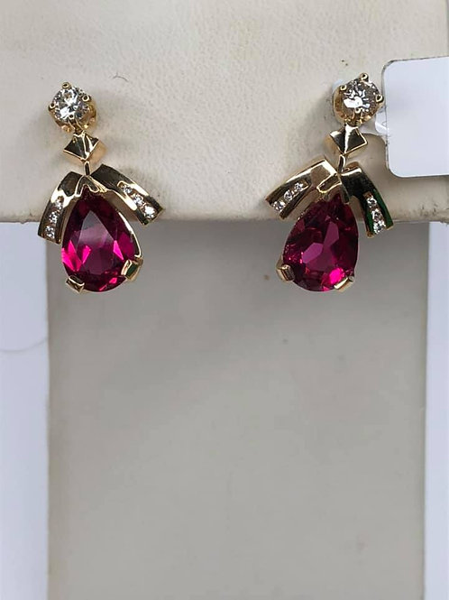 14K Yellow Gold Earrings. with Vivid Pear Shape Dark Pink Tourmaline & Diamonds