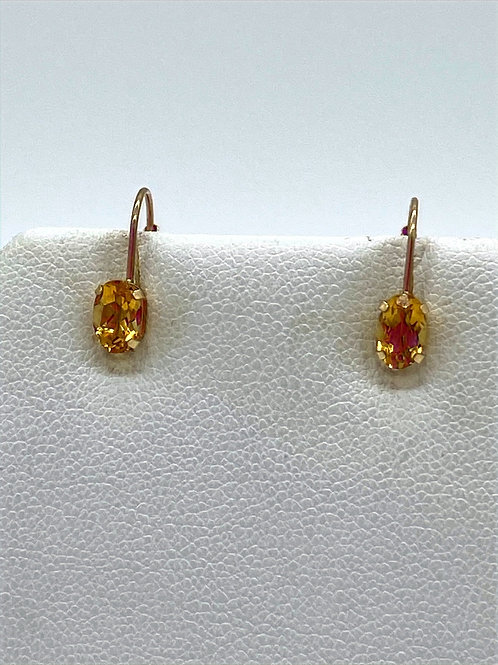 Sterling Silver Citrine Classic Oval Earrings