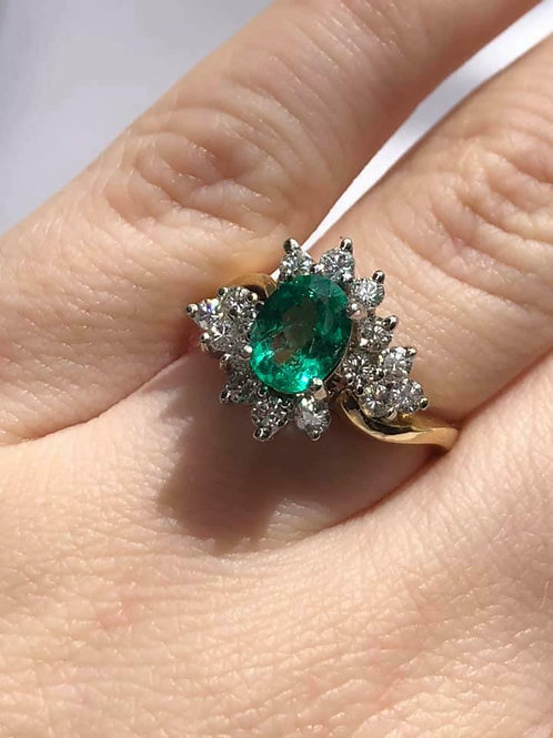 14 K Yellow Gold Emerald and Diamond Cocktail Style Ring
