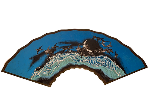 Meiji Japanese 19th C. Fan Shaped Bronze Silver Wire Cloisonné Blue Enamel Panel