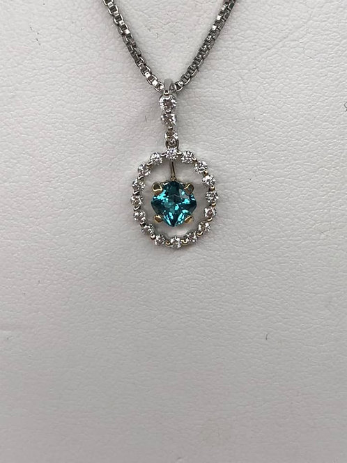 Indicolite Tourmaline Pendant 14 K White Gold and Diamond Halo
