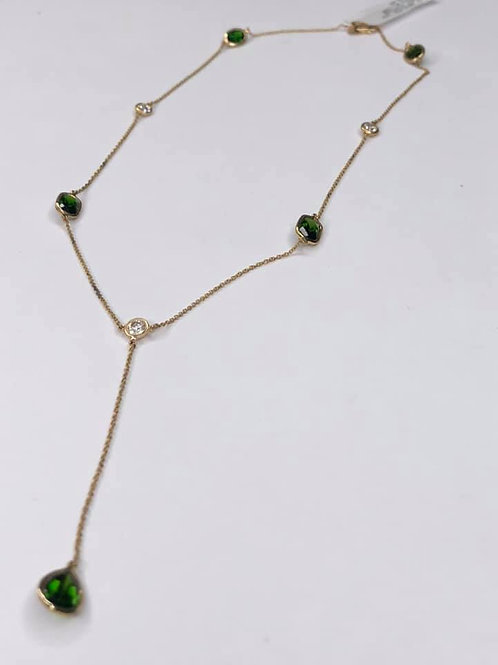 14K Yellow Gold, Diamond & Chrome Diopside Station Necklace