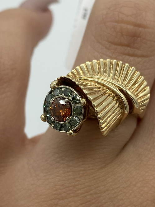 14 K Yellow Gold Retro Design Ring with Colored Diamonds