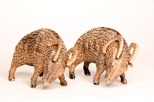 20th Century Chinese Pair Gilded Silver Filigree & Enameled Ram Sculptures