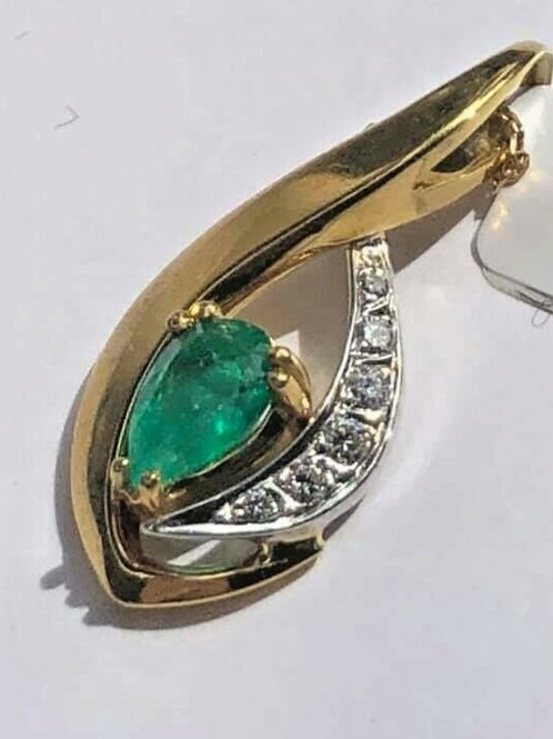 18 K Gold Two Tone Necklace with Emerald and Diamonds Drop Shape Pendant