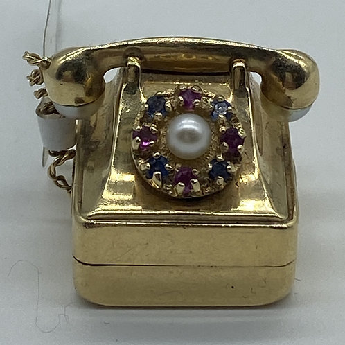 Rotary Telephone Charm with Pearl and Gemstones