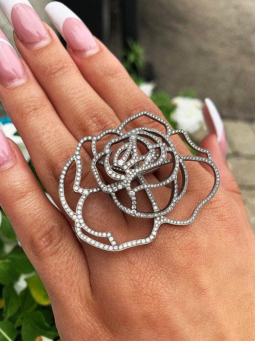 Vera Wang 18 K White Gold and Titanium Diamond Rose Statement Ring