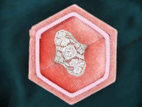 Romantic Art Deco Antique Diamond Ring