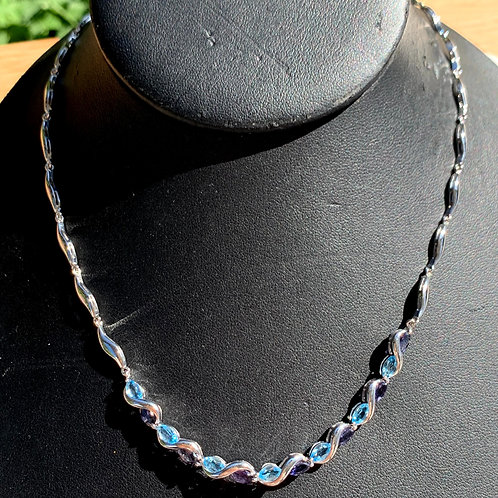 Silver, Iolite & Blue Tourmaline Necklace with Wave Design  Chain