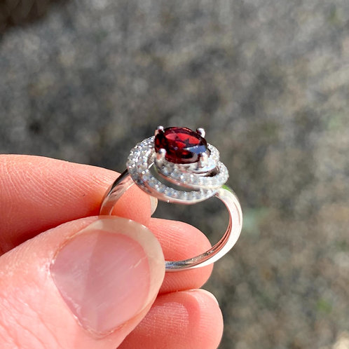 Silver & Garnet Ring with White Topaz & Swirl Design
