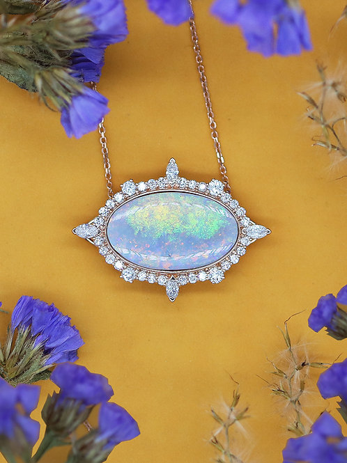 18 K Rose Gold Opal and Diamond Necklace, Custom Designed at Haig's
