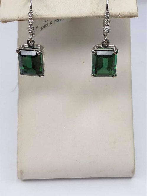 Green Tourmaline Earrings in 14 K White Gold with Accenting Diamonds