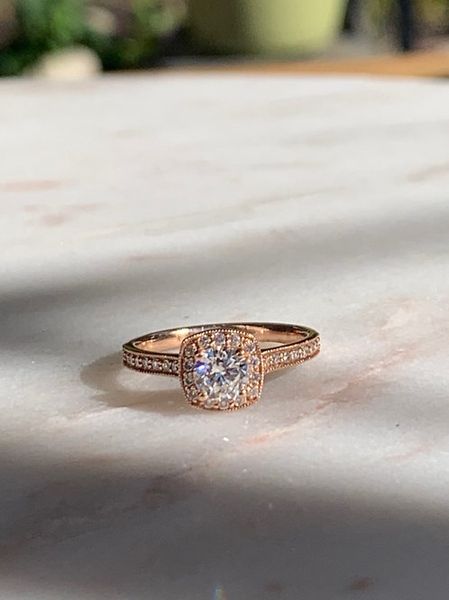 14 K Rose Gold & Round Diamond Halo Engagement Ring