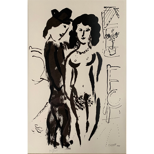 "Marc Chagall ""Lovers,"" Black & White, Signed & Numbered Stone Lithograph"