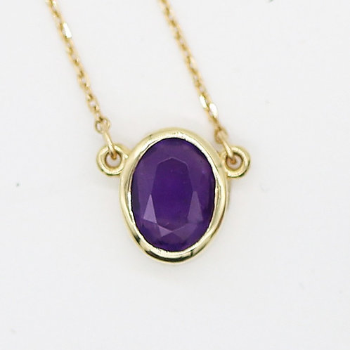 Small Faceted Amethyst & Gold Oval Pendant