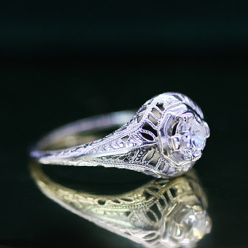 Vintage Art Deco 14 K White Gold Filigree Diamond Engagement Ring