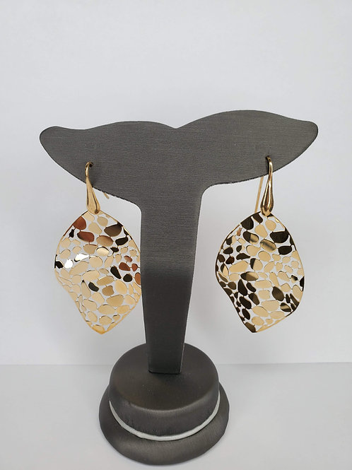 Abstract Mosaic Leaf Earrings in Gold Plated Sterling Silver
