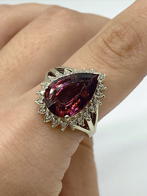 14 K Yellow Gold and Red Tourmaline Teardrop Ring with Diamonds