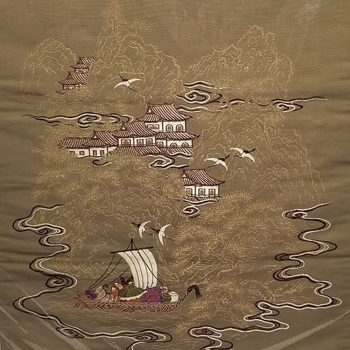 Japanese Fukusa for Gift Wrapping, Woven Gold Color, Scene with Boat and Village