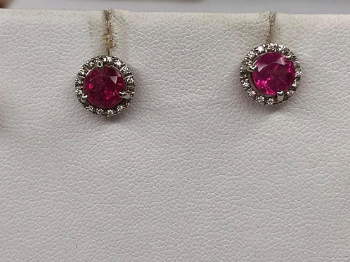 18K White Gold Earrings with Pink Tourmaline & Diamonds