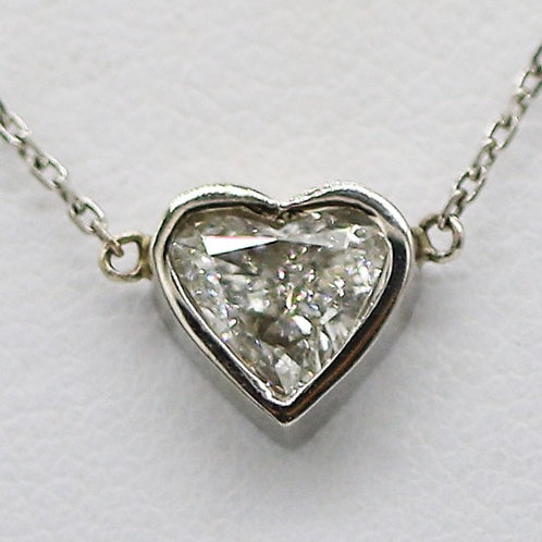 14 Karat White Gold Heart Diamond Necklace